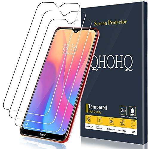 QHOHQ Protector de Pantalla para Xiaomi Redmi 8, Redmi 8A, [3 Piezas] [Dureza 9H] Sin Burbujas HD Transparente Anti-Arañazos Cristal Templado