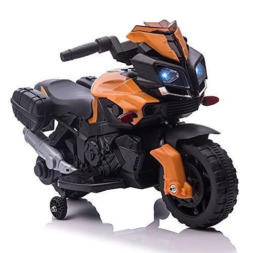 HOMCOM Moto Eléctrica para Niños de +18 Meses 6V con Faros Bocina 2 Ruedas de Equilibrio Velocidad Máx. de 3 km h Motocicleta de Juguete 88,5x42,5x49 cm Naranja