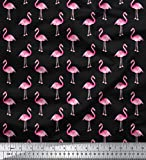 Soimoi Poly Satin Fabric 105 GSM Flamingo Print 44 Inches Wide Sewing Fabric Supply by The Yard - Black