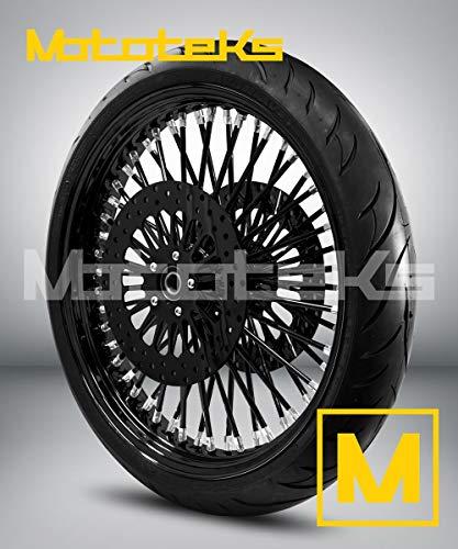 21X3.5 52 Fat Spoke Wheel for Harley Touring Bagger fits 2008-Above Models (w/ABS) w/Tire & Rotors (w/bolts) (Black Rim/Hub/Spokes & Black Wall Tire)