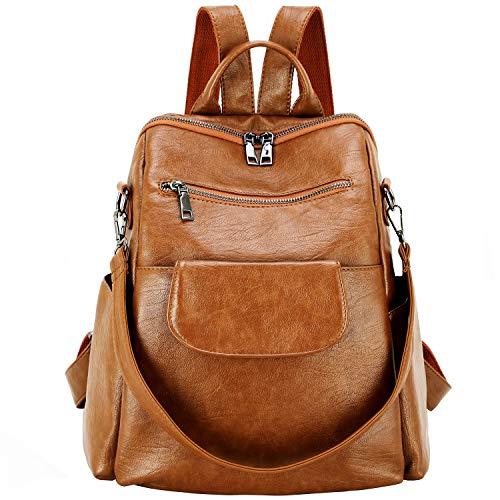 Women Fashion Backpack Purse PU Washed Leather Waterproof Bookbags Travel Shopping Rucksack Convertible Ladies Shoulder Bag