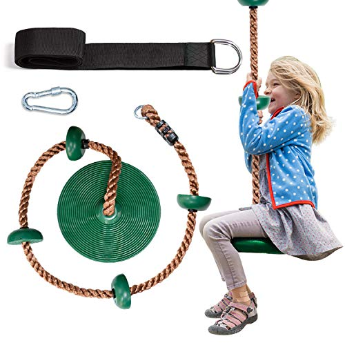 OXYVAN Tree Swing Climbing Rope for Kids with Platforms and Green Disc Swing Seat-Swingset Accessories Outdoor-Carabiner and 5 Ft Tree Strap