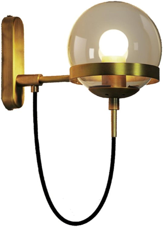 CDREAM Hotellobby Wohnzimmer Minimalist Retro Restaurant Glaskugel Bronze Wandleuchte E27 Wandlampe Innenwandleuchte,Copper