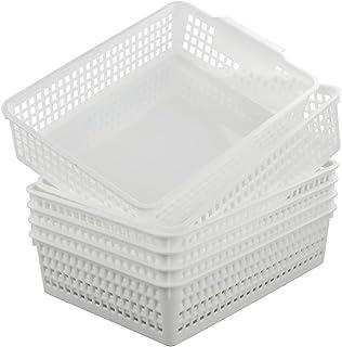 Fosly A4 Panier Rangement Plastique, Lot de 6 Blanc Paniers de Rectangulaire