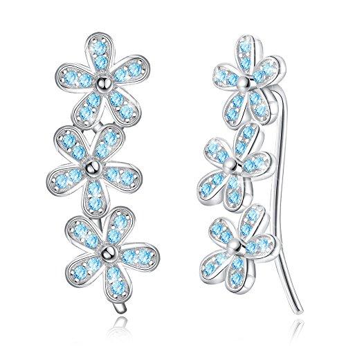 Nykkola - Pendientes de plata de ley 925 con diseño de flor de cristal azul brillante
