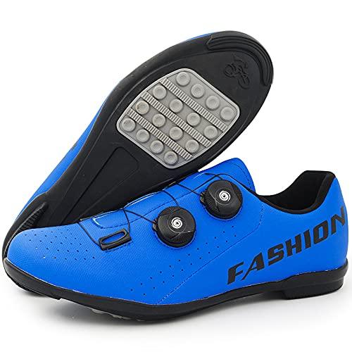 KUXUAN Calzado de Ciclismo para Hombre,Calzado Deportivo de Montaña y Carretera para Mujer Calzado de Refuerzo para Bicicleta/Suelas de Goma,Blue-10UK=(270mm)=44EU