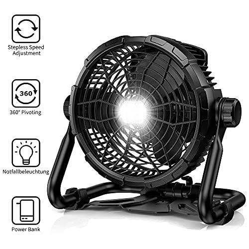 Lureshine - Puissant ventilateur à piles avec lampe, 15W
