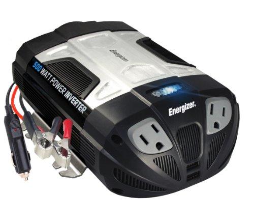 ENERGIZER 500W Power Inverter 12V DC cigarette lighter or battery clips to 120 Volt AC with 2 USB...