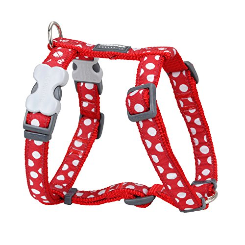 Trilus DH-S5-RE-20 Nylon Hundegeschirr, weiße Punkt an rot, M