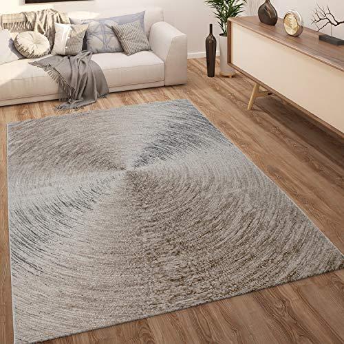 Paco Home Alfombra salón Pelo Corto Abstracta Natural con gradación de Color Beige marrón, tamaño:120x160 cm