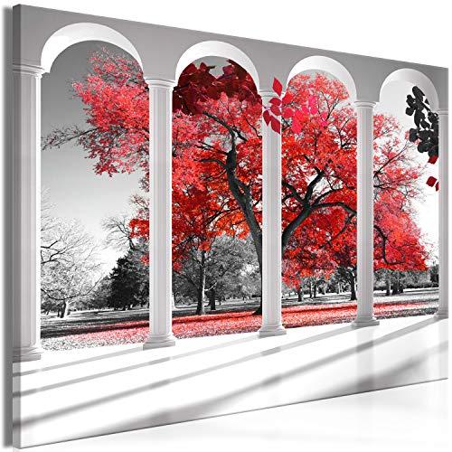 murando Tableau Acoustique Fenêtre 120x80 cm 1 Partie Impression sur Toile Image Tableaux murals Absorption Acoustique Tableau Decoration Murale Nature Arbre Rouge Gris c-C-0358-b-a