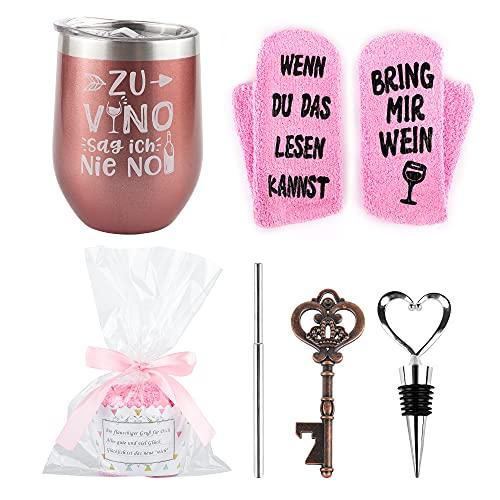 Belloxis Weinbecher Geschenkset mit Wein Socken, Wein Geschenk für Freundin Wenn Du Das Lesen Kannst Socken