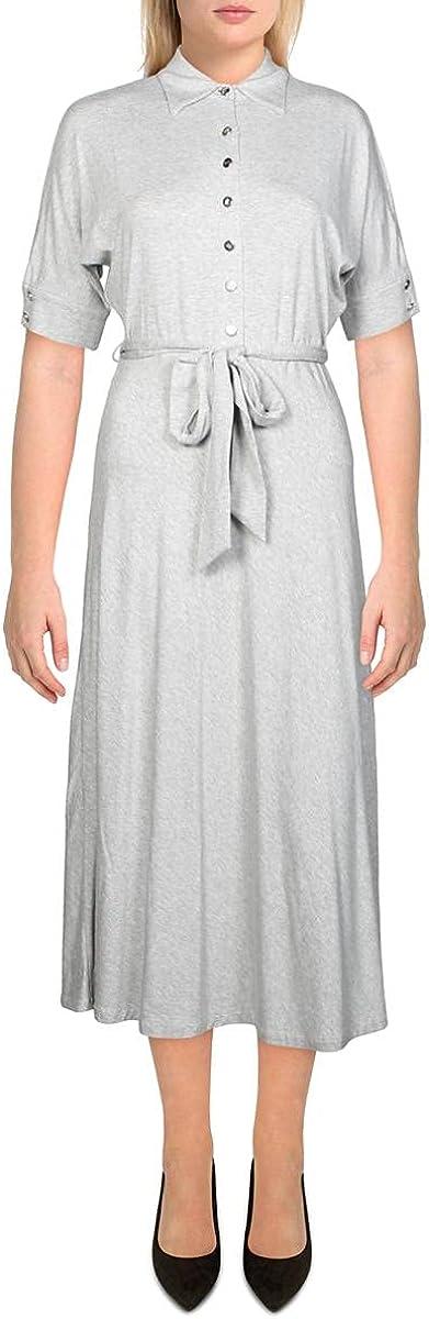 LAUREN RALPH LAUREN Womens Heathered Casual Shirtdress Gray XS