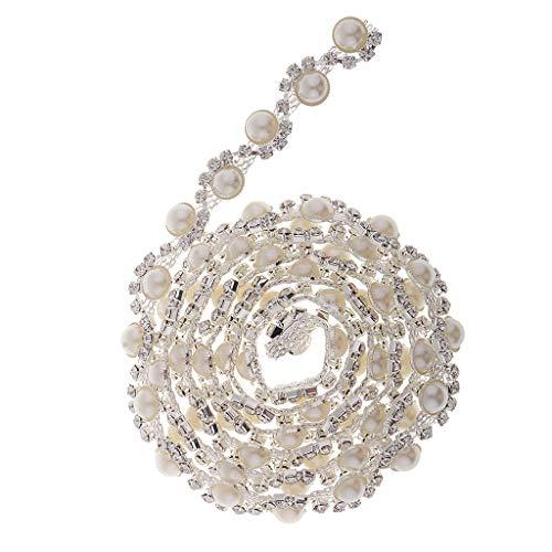 Baoblaze Perlenband Strassband Perlengirlande Glänzend Deko Perlenschnur für Schmuck Nähen Handwerk DIY Weihnachten Hochzeit
