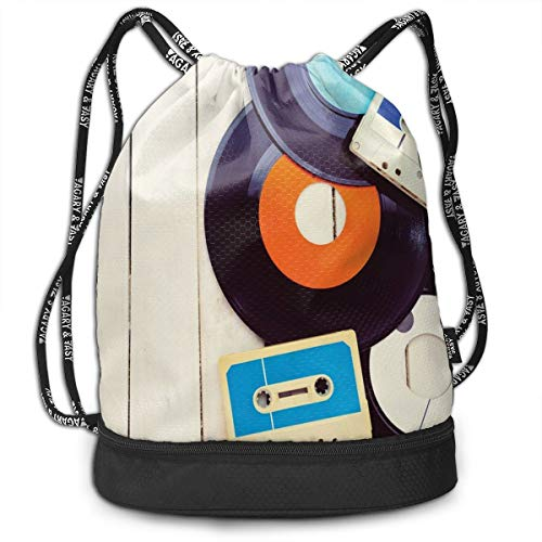 DPASIi Drawstring Backpacks Daypack Bags,Gramophone Records and Old Audio Cassettes On Wooden Table Nostalgia Music,Adjustable String Closure