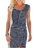 Alieyaes Damen Casual Ärmellos Strandkleid Sommerkleid Knielang Sportliches Streifenkleid Marineblau S