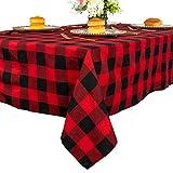 Mantel cuadrado a cuadros de 137 x 137 cm, color rojo y negro, mantel de entramado para decoración de eventos de Navidad, cubierta de mesa de lino a cuadros para cocina y comedor