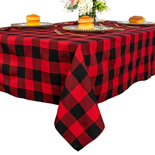 Mantel cuadrado a cuadros de 137 x 137 cm, color rojo y negro, mantel de entramado para decoración...