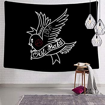 shenyizhu Cry-Baby Tattoo with Tattoos Logo Tapestries Decorative Blanket Artwork Pop Backdrop Wallart Sofa Cover for Bedroom Living Room Dorm Decor 51.2 x 59.1 Inch