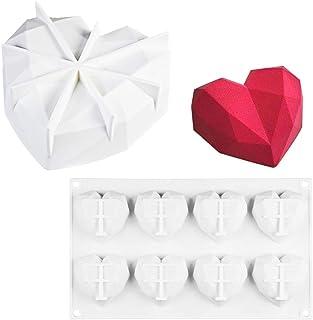Neepanda White 8 Cup Diamond Heart Shaped Silicone Mold for Chocolate Dessert + 7 inch Diamond Heart Shaped Mousse Cake Si...