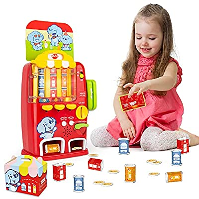 VATOS Interactive Vending Machine Toy - Pretend Play for Toddlers Age 3 4 5 Years Old Kids Drink Machine Games Light & Sound Educational Toys Early Development Toy,Fun Gift for Boys Girls from VATOS