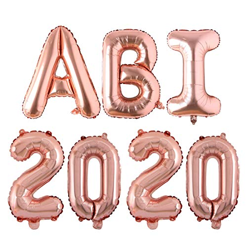 Bluelves ABI 2020 Folienballon, Abitur 2020 Deko Luftballons Rosegold, Ballons ABI 2020 Gold Buchstabe, Balons Abschluss, Deko für die Abi-Feier/Schul Abschluss Dekoration, Größe 81CM