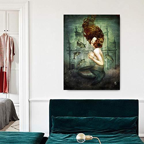 ZXYFBH Cuadros Decoracion Salon Póster de Pintura al óleo con Perlas de Sirena, Impresiones en Lienzo, Cuadros de Pared, Cuadros para decoración del hogar, 60x80cm (NoFrame) A