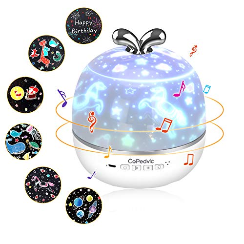 CoPedvic Proyector Estrellas, 3 en 1 Lampara Proyector Altavoz Bluetooth USB Luz Nocturna Infantil Recargable Musica Lampara Techo con Control Remoto y Temporizador para Bebés, Niños, Dormitorios