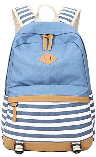 5 ALL Fashion Mädchen Schulrucksack Damen Canvas Rucksack Teenager Baumwollstoff Streifen Schultasche Daypacks für Universität Outdoor Freizeit QXT-8810 (Hell Blau)