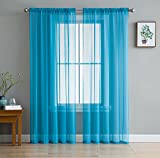 HLC.ME Turquoise Blue Sheer Voile Window Treatment Rod Pocket Curtain Panels for Bedroom and Living Room (54 x 84 inches Long, Set of 2)