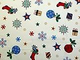 Baumwollstoff, Weihnachtsmotive, Bedruckt, elfenbeinfarben,