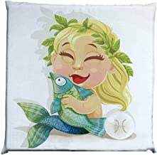 YOLIYANA Astrology Durable Square Chair Pad,Baby Pisces Symbol Holding Fish Nemo Horoscope Collection Venus Little Mermaid Boho for Bedroom Living Room,One Size