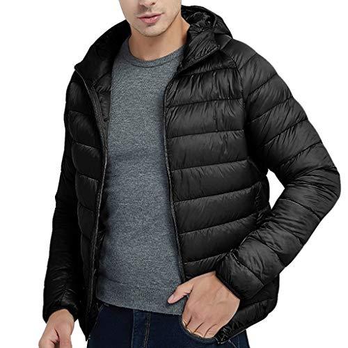 OMINA Mens Down Jacket with Hoodie Lightweight Warm Autumn Winter Thin Coat Regular Fit Casual Sports Zipper Outwear Black