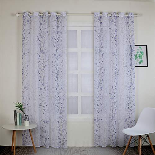 Weryffe Paneles Sheer Window Plum Blossom Diseño de Boquilla, cortina de voile para salón o dormitorio, 250 cm x 100 cm (azul)