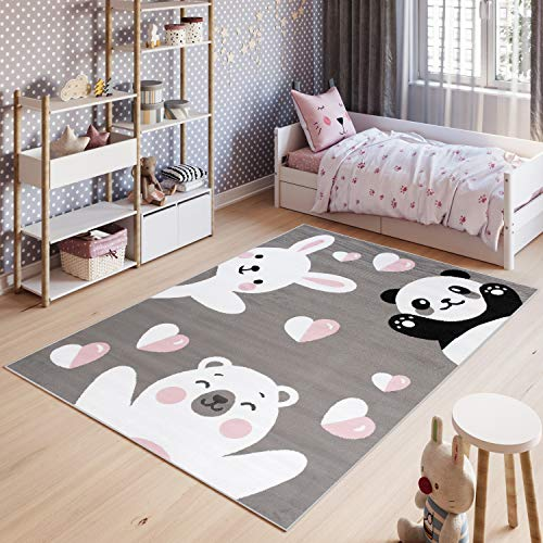 Tapiso Pinky Teppich Kurzflor Grau Schwarz Weiß Rosa Modern Panda Bär Teddy Eisbär Hase Tiere Design Kinderzimmer Kinderteppich ÖKOTEX 140 x 200 cm