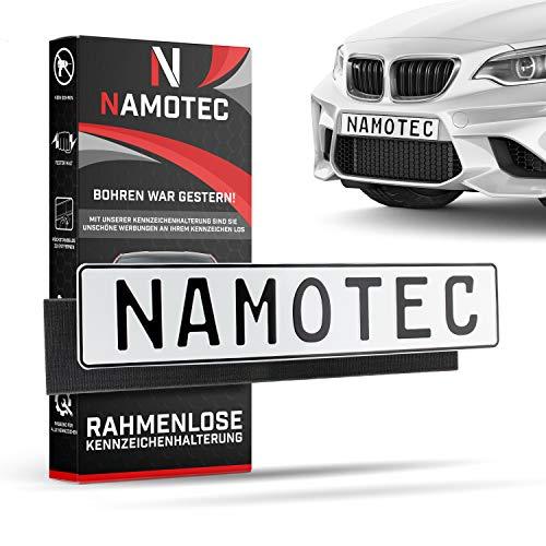 Namotec® Kennzeichenhalter Set rahmenlos Klett Selbstklebende Nummernschildhalterung Auto - Unsichtbare Kfz Kennzeichen-halterung - Klettverschluss Nummernschild-halter Klettband