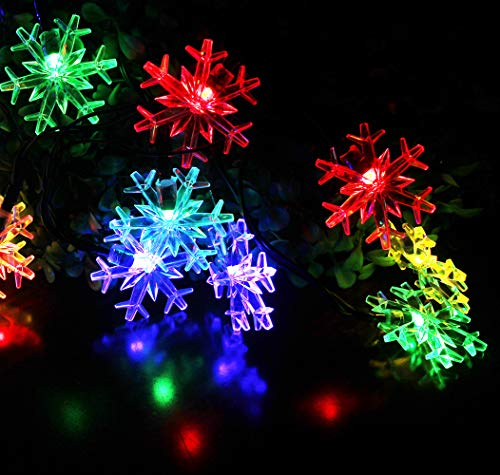 Solar Snowflake String Lights , SPLOcolor 20ft 30 LEDs Waterproof 8 Modes Solar Powered String Fairy Lights Christmas Lights Patio Lights Indoor Outdoor Lighting for Patio Holiday Party Gar