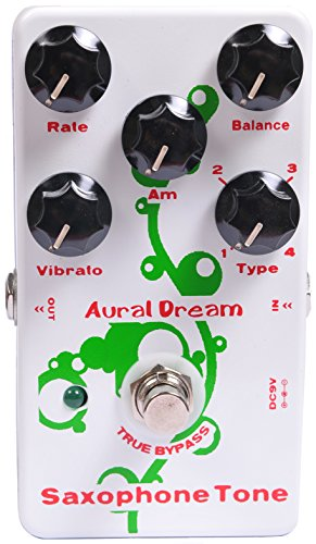 Aural Dream Saxophone Tone Synthesizer Guitar Effects Pedal includes saxophone 16',saxophone 8',theater saxophone 16'and theater saxophone 8'with Vibrato and Swell module,True bypass.