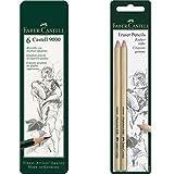 Faber Castell 119063 - Estuche de 6 lápices Castell 9000, graduación HB, B, 2B, 4B 6B y 8B, color negro + Faber-Castell 185698 - Blister lápices goma para borrar, con precisión