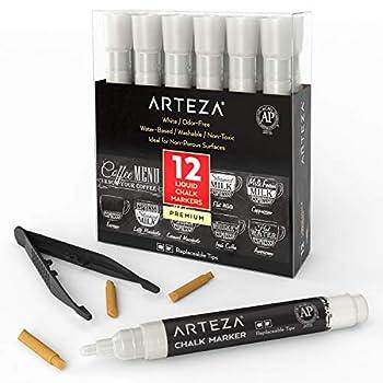 ARTEZA Liquid Chalk Markers Set of 12  White Color 12 Replaceable Chisel Tips 1 pc Tweezers  - Washable - Water-Based - White Liquid Chalkboard Markers