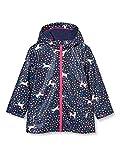 Joules Girls' Raindance Rubber Raincoat, Navy Unicorn, 1