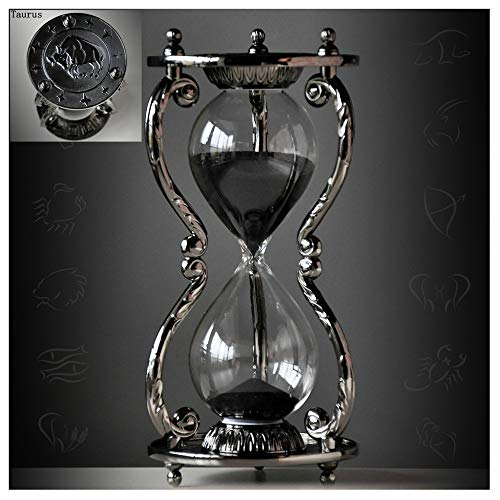 Black Antique Decorative Hourglass Sand Timer - 30 Minute, Unique Vintage 12 Constellations Metal Art Hour Glass for Office Desk Home Decor - Birthday Gift,Taurus