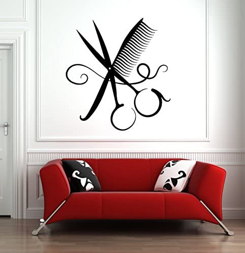 Hair Salon Wall Window Decal Sticker Hair Stylist Hair Tools Scissors Barber Shop Beauty Salon product image