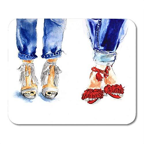 Blue Jeans Beine Schwarz-Weiß Pediküre Schuhe Fersen Rot Sommer Zwei Bilder Aquarell Raster Mousepad für Laptop, Desktop-Computer Bürobedarf Mauspads