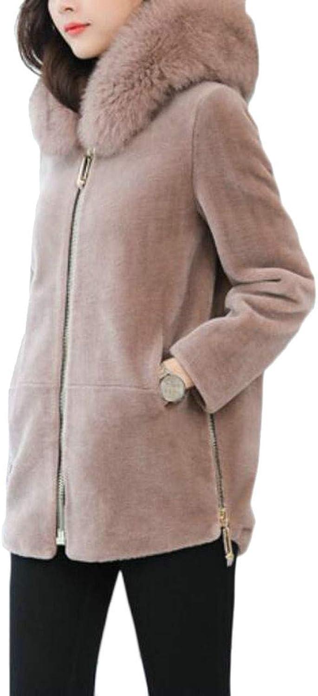 Hajotrawa Women's Loose Fit Warm Hooded Outwear Faux Fur Zipper Up Pea Coat