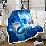 Loussiesd Manta de forro polar con temática musical para niños, diseño de música de sherpa, manta de felpa azul brillante, para sofá cama, manta de felpa elegante para bebé, 76 x 101 cm