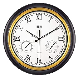 BEW Large Outdoor Clock, 18-Inch Waterproof Garden Clocks with Thermometer and Hygrometer Combo, Weather-Resistance Silent Garden Metal Clock for Patio, Pool, Lanai, Fence, Porch (Roman Numerals)