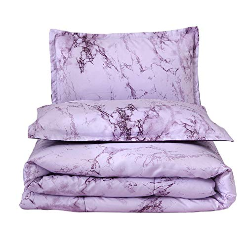 A Nice Night Marble Design Quilt Comforter Set Bed-in-a-Bag,Queen (Purple-Marble)
