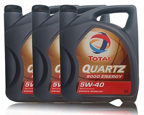 3x 5 liter (15L) Total Quartz 9000 Energy 5W-40 motorolie 5W40