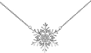 Diamond Snowflake Necklace Winter Snow Holiday in 10K White Gold, 10K Yellow Gold and 925 Sterling Silver, 1/10ct (I-J Col...